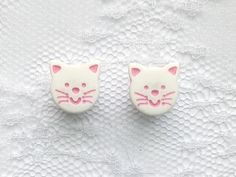White and Pink Cat Plugs Gauges Size: 0g (8mm), 00g (10mm) by PorcupineSpines