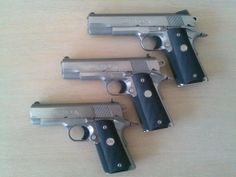Colt Series 80 Stainless Steel 1911 in Government, Commander, and Officer sizes.