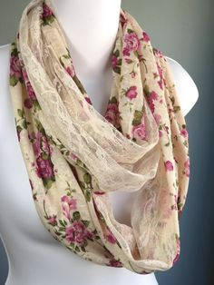 Infinity Lace Woman Scarf Flower Print Accessories Fancy Scarf Infinity Scarf  Lace