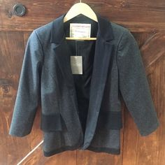NWT Anthropologie blazer. grey/black. Size 4 Brand New! NWT Anthropologie blazer. grey/black. Super cute and unique. Size 4. Great quality Anthropologie Jackets & Coats Blazers
