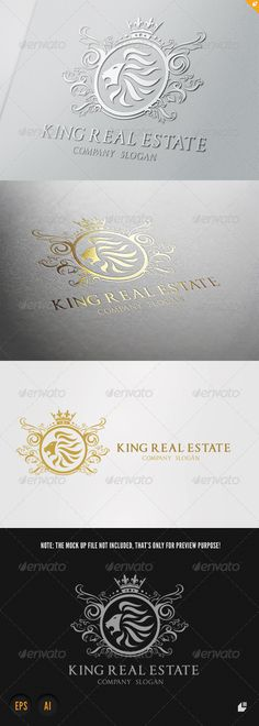 King Real Estate Logo V1 #GraphicRiver This logo design for all creative business. C