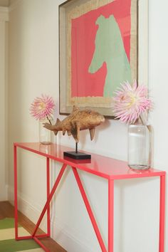 Beautiful use of color, slim console table