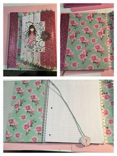 Gorjuss Girl Altered notebook with pockets and bookmark Cuaderno alterado con cierre