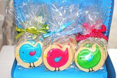 little birdie cookies in blue suitcase