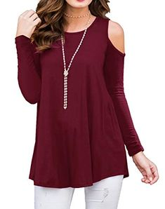 062a0c51a134b6 PrinStory Womens Long Sleeve Off Shoulder Round Neck Casual Loose Top  Blouse T-Shirt Black-S