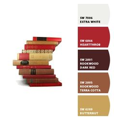 living room colors: brown, white, tan with red and gold accents Paint colors from Chip It! by Sherwin-Williams