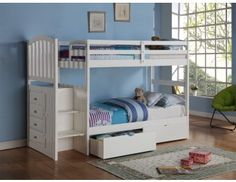 Shop for Donco Kids Arch Mission Stairway White Twin Bunk Bed with Underbed Drawers. Get free delivery On EVERYTHING* Overstock - Your Online Furniture Outlet Store! Get in rewards with Club O! Bed With Underbed, Bunk Beds With Drawers, Under Bed Drawers, Bunk Beds With Storage, Bunk Beds With Stairs, Cool Bunk Beds, Bed Storage, Storage Drawers, Extra Storage
