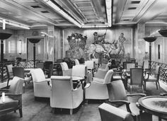 The First Class Fumoir (Smoking Room) of the Liberté (Liberte), flagship of Compagnie Générale Transatlantique, more commonly known as The French Line. 1950.