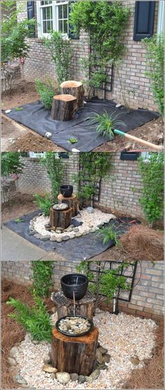 Log Decor Water Feature Ideas For Garden