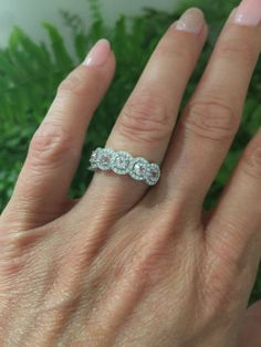 Morganite & Diamond Halo Band 1.03ct Genuine Round Morganites .28ct Genuine Diamonds Anniversary Band Pristine Custom Rings