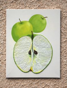 Green Apples String Art Textured 3D Painting - Great Christmas Gift