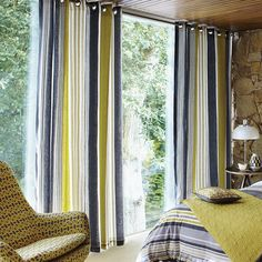 Lace Stripe Slate Grey & Yellow Lined Curtains at Bedeck Home