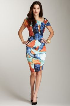 Andrew Marc  Coral Reef Print Jersey Dress