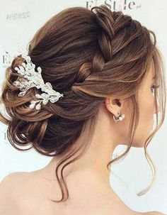 Bridal hair comb boho wedding hair vine baby breath hair piece for wedding rose gold ornaments tocado novia bohemian hair accessories 27 atemberaubende hochzeit frisur inspirationen atemberaubende frisur hochzeit inspirationen Medium Hair Styles, Long Hair Styles, Bun Styles, Hair Styles For Formal, Ideas For Hair Styles, Wedding Hairstyles For Long Hair, Bridesmaid Hairstyles, Hairstyle Wedding, Wedding Updo With Braid