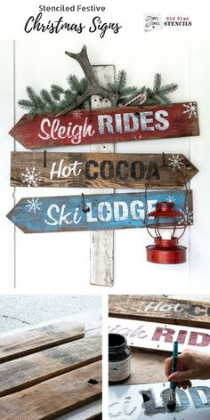 Super festive and fun Christmas and winter directional signs using stencils and reclaimed wood planks Made with Funky Junks Old Sign Stencils Sleigh Rides Hot Cocoa and S. Christmas Wood Crafts, Christmas Signs Wood, Holiday Signs, Outdoor Christmas Decorations, Rustic Christmas, Christmas Projects, Winter Christmas, Holiday Crafts, Christmas Holidays