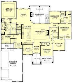Modern Craftsman home with 5 bedrooms and baths with a large bonus room. Ope… Modern Craftsman home with 5 bedrooms and baths with. 5 Bedroom House Plans, Dream House Plans, House Floor Plans, Dream Houses, House Design Plans, One Level House Plans, Duplex Floor Plans, Luxury Floor Plans, Open House Plans