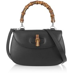 Gucci Bamboo Classic textured-leather shoulder bag (€1.950) ❤ liked on Polyvore featuring bags, handbags, shoulder bags, black, gucci, gucci shoulder bag, horse handbags, gucci handbags, horse purse and black handbags