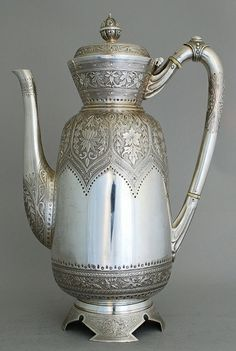 Beautiful silver teapot.