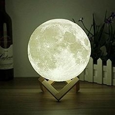 Space Printing Stepless Dimmable Lamp Shade-Warm and White Touch Control Brightness with USB Charging Decor-Lunar Night Light with Wooden Mount-Moon Gifts Moon Light Lamp, 3d Light, Light Touch, Soft Light, Desk Lamp, Table Lamp, Moon Table, Hub Usb, Moon Decor
