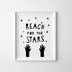 Reach for the stars, nursery art, digital print, Kids room decor, children wall art, boys room print, playroom poster, black and white art