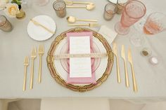 Romantic Shoot at Justin Vineyards and Winery | Florentine Pink and Gold Charger + The White Collection Vintage China + Pink Collection salad plate + 24K Gold Flatware + Pink Goblet, Cut Crystal + Antique Clear and Pink Salt Cellars // Casa de Perrin via Style Me Pretty