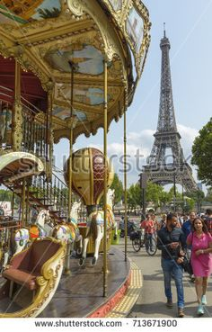 View of the carousel and the Eiffel Tower on August 26, 2017 in Paris, France.