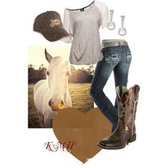 A fashion look from July 2012 featuring two tone t shirts, bootcut jeans and cowboy boots. Browse and shop related looks.