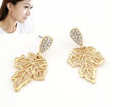 Elegant Rhinestone Gold Tone Hollowed Leaf Dangle Earrings