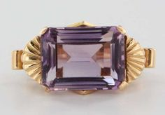 Antique Deco Retro 14k Rose Gold Amethyst Cocktail Ring