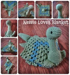 Nessie Lovey Blanket by the-carolyn-michelle on DeviantArt Crochet Security Blanket, Crochet Lovey, Love Crochet, Baby Blanket Crochet, Crochet For Kids, Crochet Dolls, Crochet Crafts, Yarn Crafts, Crochet Projects