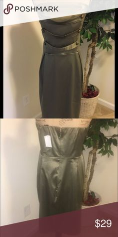 NWOT Olive Dress Olive green halter dress from Ashley Stewart. Back zipper and buttons in front for a boss look for the full figure lady. Ashley Stewart Dresses Strapless
