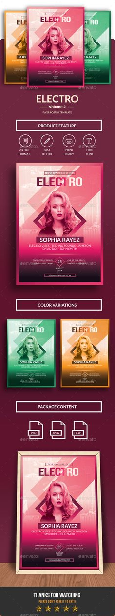 Electro Flyer/ Poster Template PSD