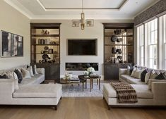 Elegant beige and grey living room decor Transitional style beige brown living room decor decor with beige sofa chaise False Ceiling Living Room, Living Room With Fireplace, Living Room Kitchen, Home Living Room, Living Room Decor, Apartment Living, Living Area, Room Interior, Interior Design Living Room