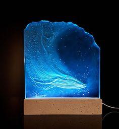 "15""x18""x3/4"" humpback whale sculpture sandblast carved art glass by Stuebner Glass Design"