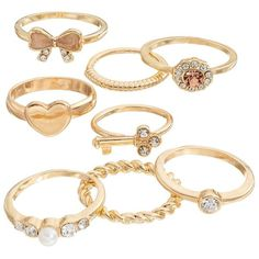 Mudd Heart, Key & Butterfly Ring Set, Girl's, Pink ($8) ❤ liked on Polyvore featuring rings, jewelry, accessories and pink