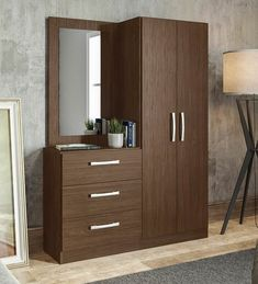 Buy Araki 2 Door Wardrobe & Dressing Table by Mintwud Online - Modern Cabinets - Cabinets - Furniture - Pepperfry Product Wardrobe Interior Design, Wardrobe Door Designs, Wardrobe Design Bedroom, Bedroom Furniture Design, Home Decor Furniture, 2 Door Wardrobe, Corner Wardrobe, Wardrobe Cabinets, Pipe Furniture