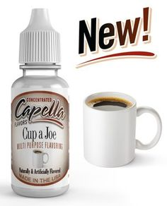 Capella Flavor Drops Cup a Joe Concentrate of Capella Cup a Joe Flavoring Flavor Drops, Gourmet Recipes, Mugs, Bottle, Tableware, Easy, Food, Drink, Crafts