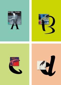 Vinyls Alphabet: A musical creative fusion of vinyl sleeves and the ABC Typography Logo, Vinyl Lettering, Lettering Design, Iggy Pop, Alphabet, Kandinsky, Graphic Design Projects, Graphic Design Inspiration, Vinyl Sleeves