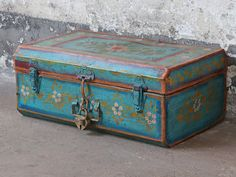 Vintage Painted Trunk - a great storage option for any room in your home. Shop all our unique and one of a kind vintage furniture and interiors. Painted Trunk, Global Style, Bedroom Vintage, Unique Vintage, Vintage Furniture, Living Room Furniture, Interior Decorating, Decorative Boxes, Shabby Chic