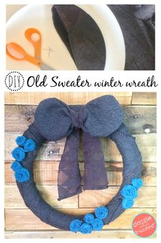 DIY Sweater Winter Wreath | winter front door decor | wreaths | floral rosettes | sweater crafts | scarf crafts | diy home decor via @https://www.pinterest.com/dazzlefrazzled/