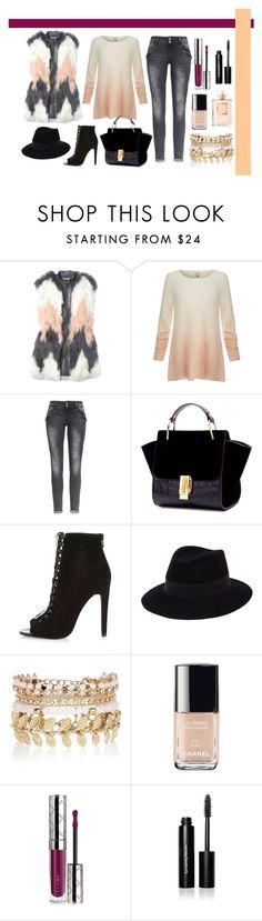 """Untitled #205"" by romi-kella on Polyvore featuring Rebecca Taylor, Joie, River Island, Maison Michel, Chanel, By Terry and Bobbi Brown Cosmetics"