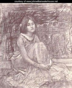 Study of a Girl :: John William Waterhouse :: circa 1908 Graphite drawing John William Waterhouse, Bright Paintings, Beautiful Paintings, Beautiful Images, Academic Drawing, Pre Raphaelite Brotherhood, Amazing Drawings, Art Gallery, Sketches