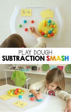 Kids are going to have a blast practicing subtraction with this math games for Toddler, Preschool, and Kindergarten age kids using playdough. Playdough Subtraction Activity for Kids I love fun… Math Subtraction, Subtraction Activities, Preschool Activities, Toddler Preschool, Numeracy, Indoor Activities, Math Games For Preschoolers, Summer Activities, Subtraction For Kindergarten