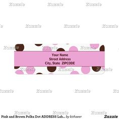 Shop Pink and Brown Polka Dot ADDRESS Labels created by kithseer. Return Address Labels, Letter Writing, Gift Tags, Polka Dots, Letters, Invitations, Templates, Words, Brown
