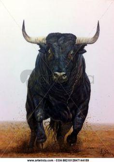 CANTINITO,UN DOLORES AGUIRRE, by Paco Sanz Jiménez (óleo) Taurus Bull Tattoos, Bull Skull Tattoos, Bull Pictures, Bull Painting, Bucking Bulls, Bull Cow, Bull Riders, Animal Magic, Cow Art