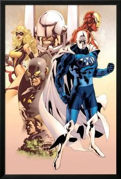 Lamina Framed Poster: Adam: Legend Of The Blue Marvel No.1 Cover: Blue Marvel, Yellowjacket, Ms. Marvel and Iron Man by Mat Broome : 38x26in
