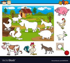 Task for preschool children vector image on VectorStock Preschool Learning Activities, Educational Activities, Preschool Activities, Activities For Kids, Farm Animals Preschool, Farm Animals For Kids, Animal Puzzle, Operation Christmas Child, Busy Book