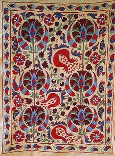 Contemporary Embroidery, Ikat Fabric, Chain Stitch, Craft Work, Cotton Silk, Traditional Art, Art Forms, Textile Art, Wall Tapestry
