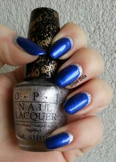 new years eve nails. Border nails. reverse french manicure. OPI It's Frosty Outside and OPI Blue My Mind