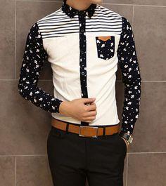 Slimming Shirt Collar Trendy Fish Print Stripe Splicing Long Sleeve Men's Cotton Shirt